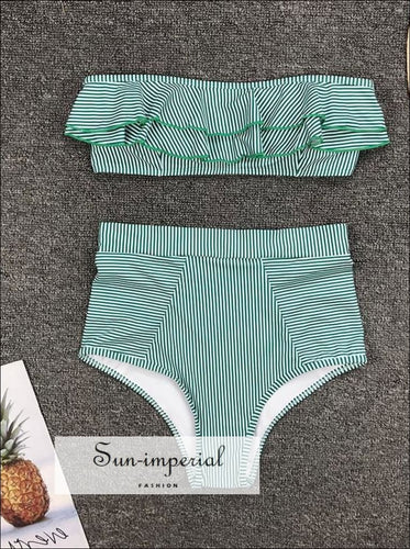 2 Piece Swimsuit Bandeau Bikini High Waisted - Striped Blue SUN-IMPERIAL United States