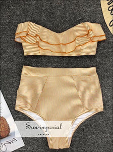 2 Piece Swimsuit Bandeau Bikini High Waisted - Striped Yellow SUN-IMPERIAL United States