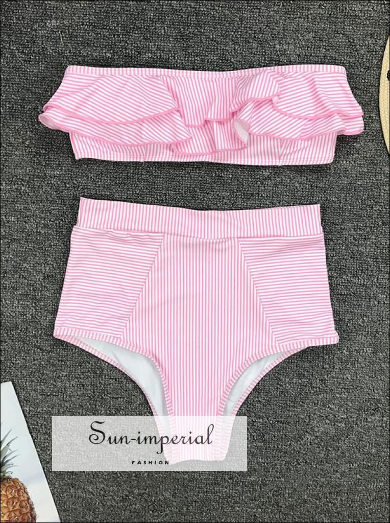 2 Piece Swimsuit Heart Print Bikini High Waisted Tie front bottom - Red SUN-IMPERIAL United States