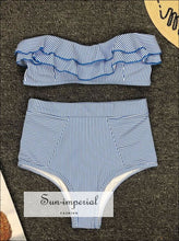 2 Piece Swimsuit Heart Print Bikini High Waisted Tie front bottom -white SUN-IMPERIAL United States