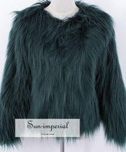 20 Colors Size S- 4xlplus Womens Black Fluffy Faux Fur Coats Jackets White Fake Women SUN-IMPERIAL United States