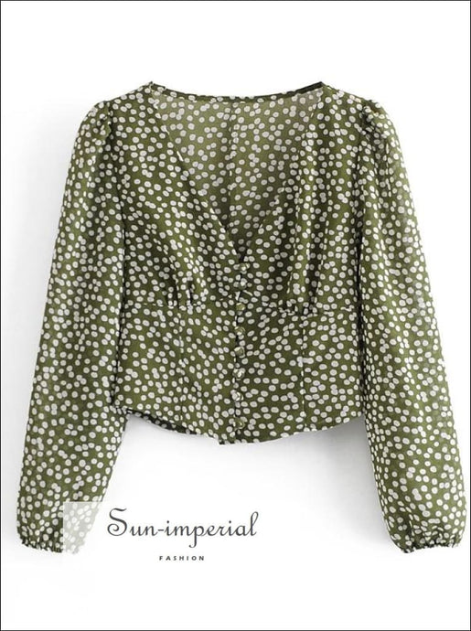 Women Green Polka Dot Long Sleeve Blouse Deep V Neckline top bohemian style, casual harajuku vintage tyle SUN-IMPERIAL United States