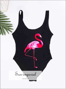 3d Flamingo One Piece Swimsuit black, blue, green, grey, one piece SUN-IMPERIAL United States