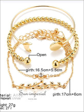 4 Pcs/ Set Classic Arrow Knot Round Crystal Multilayer Adjustable Open Bracelet Set Women SUN-IMPERIAL United States