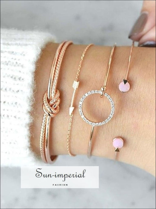 4 Pcs/ Set Classic Arrow Knot Round Crystal Multilayer Adjustable Open Bracelet Women SUN-IMPERIAL United States
