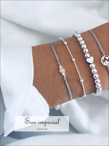 4 Pcs Silver Women Bracelet Set Heart Bead Gem Chain