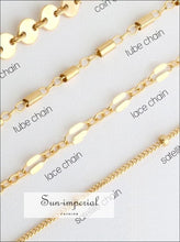 4 Pcs/set Boho Multilayer Paillette Bangles Gold Silver Tube Lace Satellite Chain Bracelets for