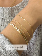 4 Pcs/set BOHO Multilayer Paillette Bangles Gold Silver Tube Lace Satellite Chain Bracelets for Women SUN-IMPERIAL United States