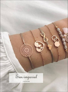 4 Pcs/set Charm Womens Fashion Crystal Triangle Circle Leaf Chain Gold Bracelet Set SUN-IMPERIAL United States