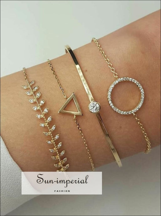 4 Pcs/set Charm Women's Fashion Crystal Triangle Circle Leaf Chain Gold Bracelet Set