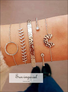 4 Pcs/set Women's Fashion Crystal Leaves Geometric Chain Gold Bracelet Set Bohemian Vintage Jewelry SUN-IMPERIAL United States