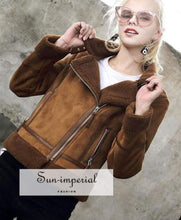 9 Faux Shearling Sheepskin Coat Women Leather thick Suede Jacket Wool Short Motorcycle Coats