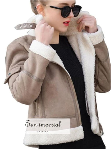 9 Faux Shearling Sheepskin Coat Women Leather Thick Suede Jacket Wool Short Motorcycle Coats SUN-IMPERIAL United States
