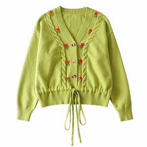 Women Green Single breasted Knitted Sweater With  Embroidered Floral and front Waist tie Detail Cardigan