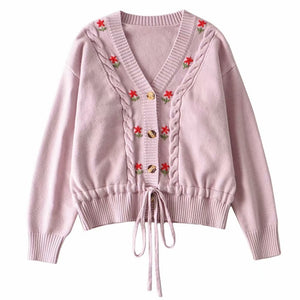 Women Pink Single breasted Knitted Sweater With  Embroidered Floral and front Waist tie Detail Cardigan
