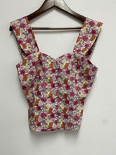 Vintage Floral Printed Buttoned Camisole top with Sweetheart Neckline Shirred Elastic back