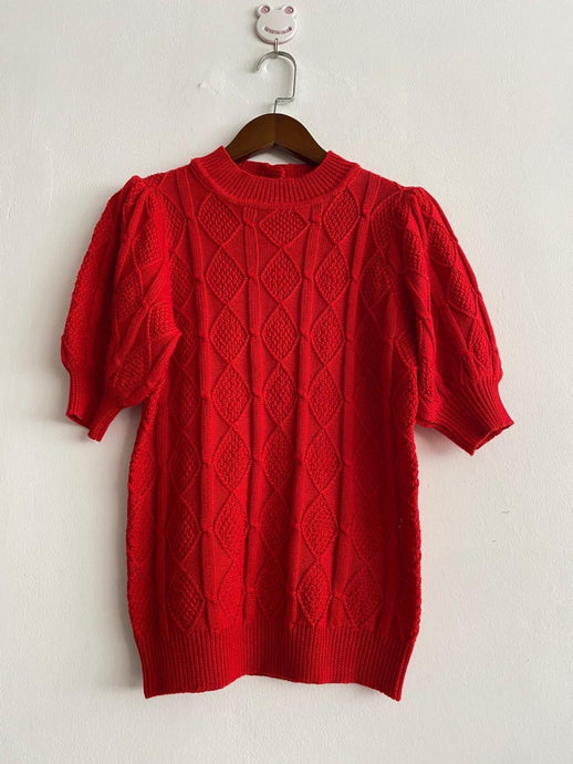 Vintage Red Short puff sleeve women knitted o-neck casual sweater