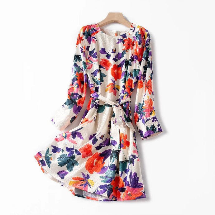 Beige Silk multicolor Flower Print MINI Dress Long Sleeve Belted Dress