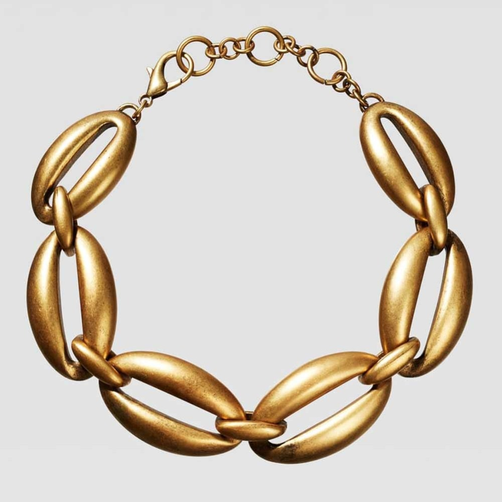 Women Gold Metal Vintage Choker Necklace