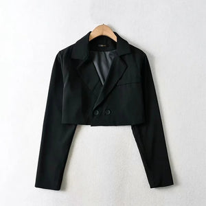 Women Black Notch Lapels Cropped Blazer