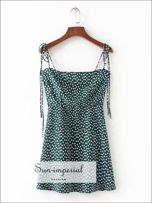 A-line Green Floral Print Tie Shoulder Mini Dress Shirred Zipped back SUN-IMPERIAL United States