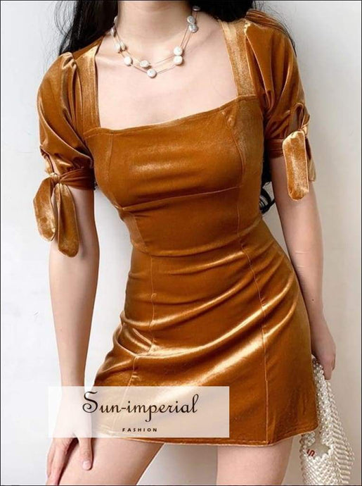 A Line Square Neck Backless Gold Velvet Mini Dress with Tie Sleeve Usa