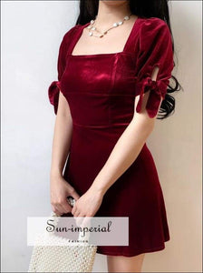 A Line Square Neck Backless Red Velvet Mini Dress with Tie Sleeve Usa