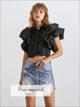 Abby top - Ruffles Crop for Women Puff Sleeve black, crop top, green, Irregular Shirt, Lapel Collar SUN-IMPERIAL United States