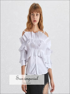 Adaline top in Mustered - Slash Neck off Shoulder Flare Sleeve Ruffles Blouse