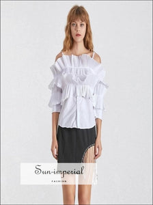 Adaline top - Solid White off the Shoulder Women Blouse Flare 3/4 Sleeve Ruffle Blouse