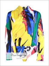 Addison Bodysuit - Multi Color Jumpsuit for Women V Neck Long Sleeve