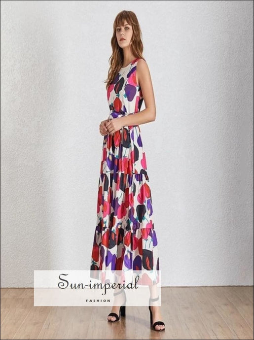 Adele Dress - Casual Print Sleeveless Women Dress O Neck maxi dress Casual Print O Neck Off Shoulder Sleeveless vintage SUN-IMPERIAL United