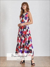 Adele Dress - Casual Print Sleeveless Women O Neck Maxi Print, Neck, Off Shoulder, Sleeveless, vintage SUN-IMPERIAL United States