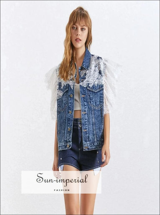 Alaska Jacket - Denim Lace sleeve Vest blue Denim Lace Patchwork Lapel Collar Off Shoulder Short Sleeve SUN-IMPERIAL United States