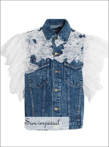Alaska Jacket - Denim Lace Sleeve Vest