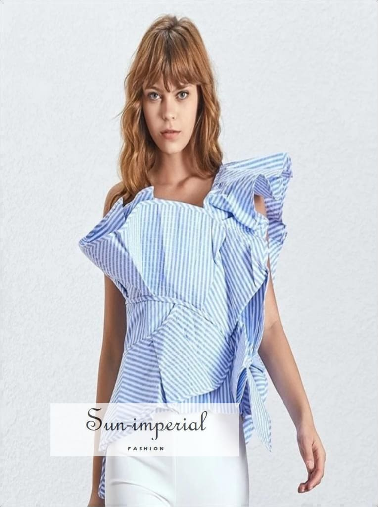 Alexa Top - striped ruffles women blouse one shoulder sleeveless slim blue pink, One Shoulder, Sleeveless, striped, vintage SUN-IMPERIAL