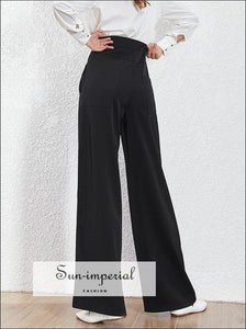 Alexandra Pants - Women Solid Black and White High Waist Wide Leg Trousers for black, Casual, Waist, Trousers, vintage SUN-IMPERIAL United