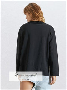Allison Sweatshirt - Solid Black Oversize Sweatshirt for Women O Neck Long Sleeve side Split