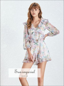 Amanda Romper - Vintage ruffle floral warp romper long sleeve Bandage Button Long Sleeve V Neck vintage Women Playsuit SUN-IMPERIAL United
