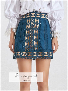 American Honey Skirt In Black - Elegant lace Black mini A-line Skirt High waist Mini Skirt black blue Elegant Female Fashion Hollow Out