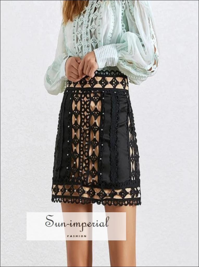 American Honey Skirt in Black - Elegant Lace Mini A-line High Waist black, blue, Elegant, Female Fashion, Hollow Out SUN-IMPERIAL United