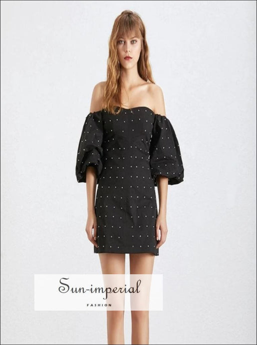 Amiens Dress - Black off the Shoulder Lantern Sleeve A-line Mini Party Dresses A Line Dress, black, Diamonds Patchwork, Off Shoulder, Slash