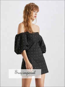 Amiens Dress - Black Off the Shoulder Lantern Sleeve A-line Mini Party Dresses A Line Dress black Diamonds Patchwork Off Shoulder Slash Neck