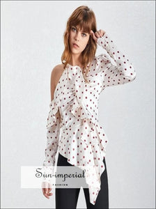 Ana Top - Elegant Polka Dot Women Blouse Off the Shoulder Ruffles Slim cut Dot, Shoulder, Puff Sleeve, Vintage, SUN-IMPERIAL United States