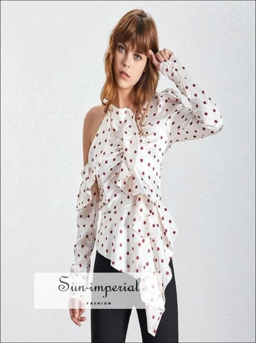 Ana Top - Elegant Polka Dot Women Blouse Off the Shoulder Ruffles Slim cut Elegant Polka Dot Off Shoulder Puff Sleeve Vintage Women Blouse