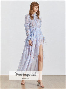 Angel Dress - Asymmetrical Lace Women Stand Collar Long Sleeve Embroidery Print Women's Dress, Blue, Elegant, Sleeve, Maxi SUN-IMPERIAL