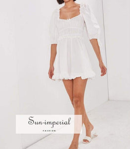 Angel Dress - Vintage White Mini Square Neck Lantern Sleeve A-line Elastic Waist dress, High quality lace, square neck, squer neckline