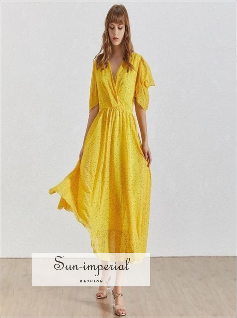 Angers Dress - Print Midi Length Yellow Warp Dress for Women V Neck Puff Sleeve High Waist