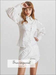 Annabelle Shorts Set - White Women Two Piece Shorts Set with Lantern Long Sleeve top