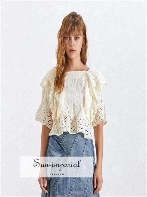 Anne top in Apricot - Lace Lace Blouse for Women Square Collar Ruffles Puff Sleeve Crop top